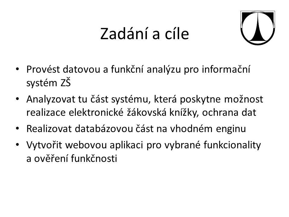 Zadání a cíle Provést datovou a funkční analýzu pro informační systém ZŠ Analyzovat tu část systému, která poskytne možnost realizace elektronické žák