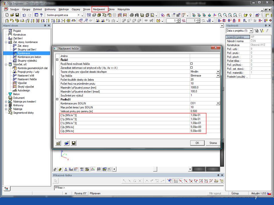 Startovací parametry C v nastavení výpočtu 7