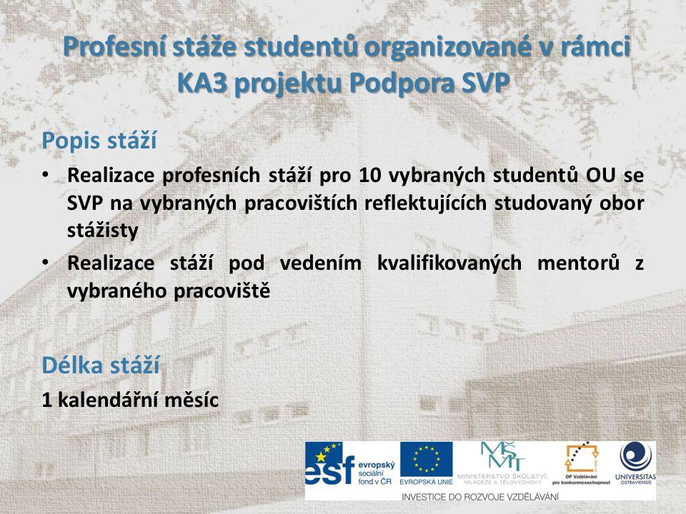 Profesní stáže studentů organizované v rámci KA3 projektu Podpora SVP Profesní stáže studentů organizované v rámci KA3 projektu Podpora SVP Popis stáž