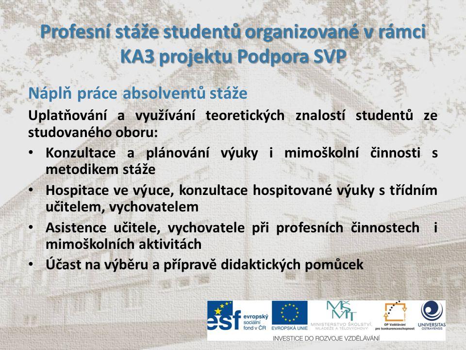 Profesní stáže studentů organizované v rámci KA3 projektu Podpora SVP Náplň práce absolventů stáže Uplatňování a využívání teoretických znalostí stude