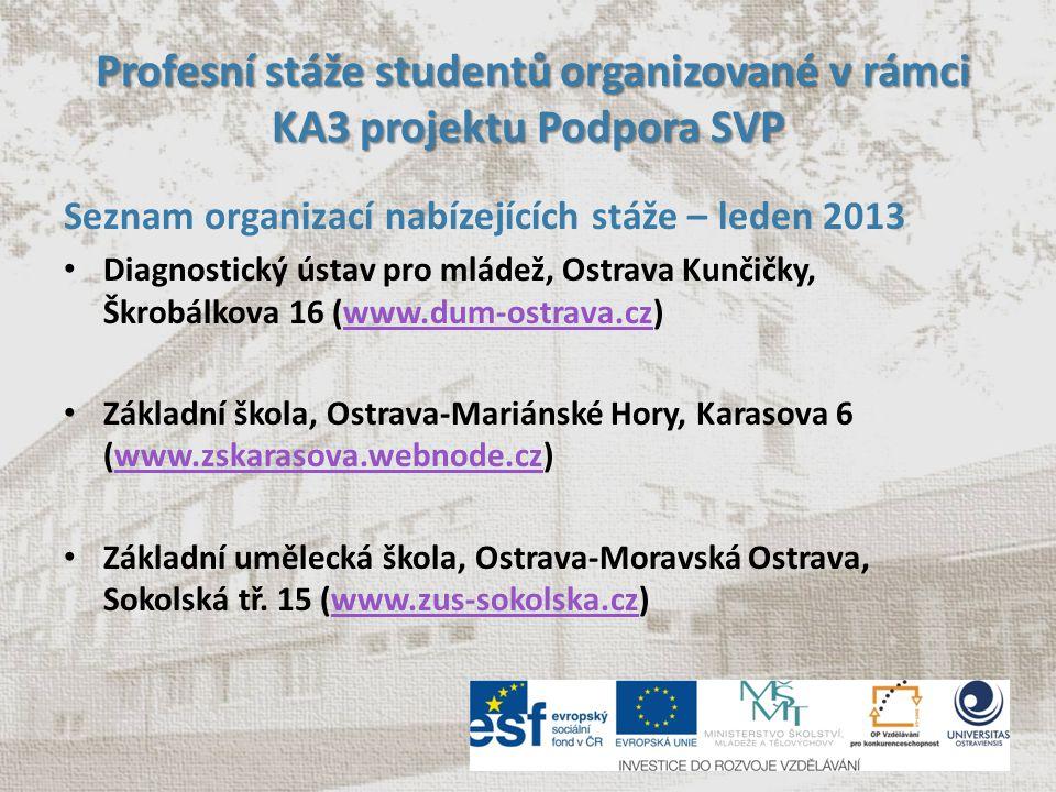 Profesní stáže studentů organizované v rámci KA3 projektu Podpora SVP Profesní stáže studentů organizované v rámci KA3 projektu Podpora SVP Seznam org