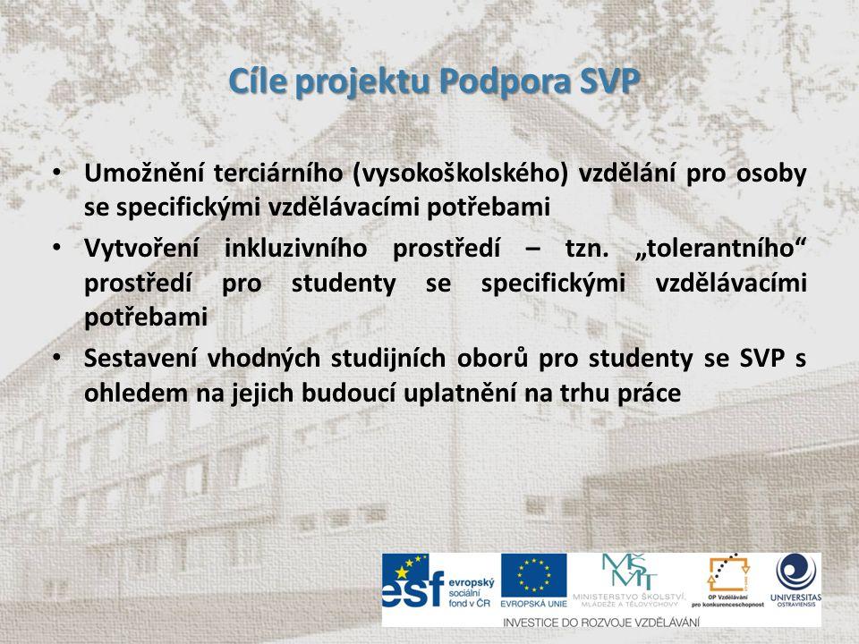 Cíle projektu Podpora SVP Cíle projektu Podpora SVP Vzdělávání akademických pracovníků a dalších zaměstnanců Ostravské univerzity v otázkách zpřístupňování vysokoškolského studia uchazečům a studentům se zdravotním postižením prostřednictvím e-Learningových kurzů Tvorba studijních opor a podpůrných didaktických materiálů pro studenty se SVP – s ohledem na jejich konkrétní specifickou potřebu