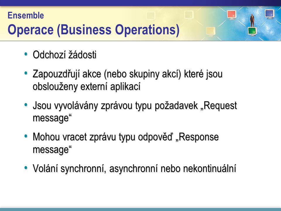"""Ensemble Operace (Business Operations) Odchozí žádosti Odchozí žádosti Zapouzdřují akce (nebo skupiny akcí) které jsou obslouženy externí aplikací Zapouzdřují akce (nebo skupiny akcí) které jsou obslouženy externí aplikací Jsou vyvolávány zprávou typu požadavek """"Request message Jsou vyvolávány zprávou typu požadavek """"Request message Mohou vracet zprávu typu odpověď """"Response message Mohou vracet zprávu typu odpověď """"Response message Volání synchronní, asynchronní nebo nekontinuální Volání synchronní, asynchronní nebo nekontinuální"""