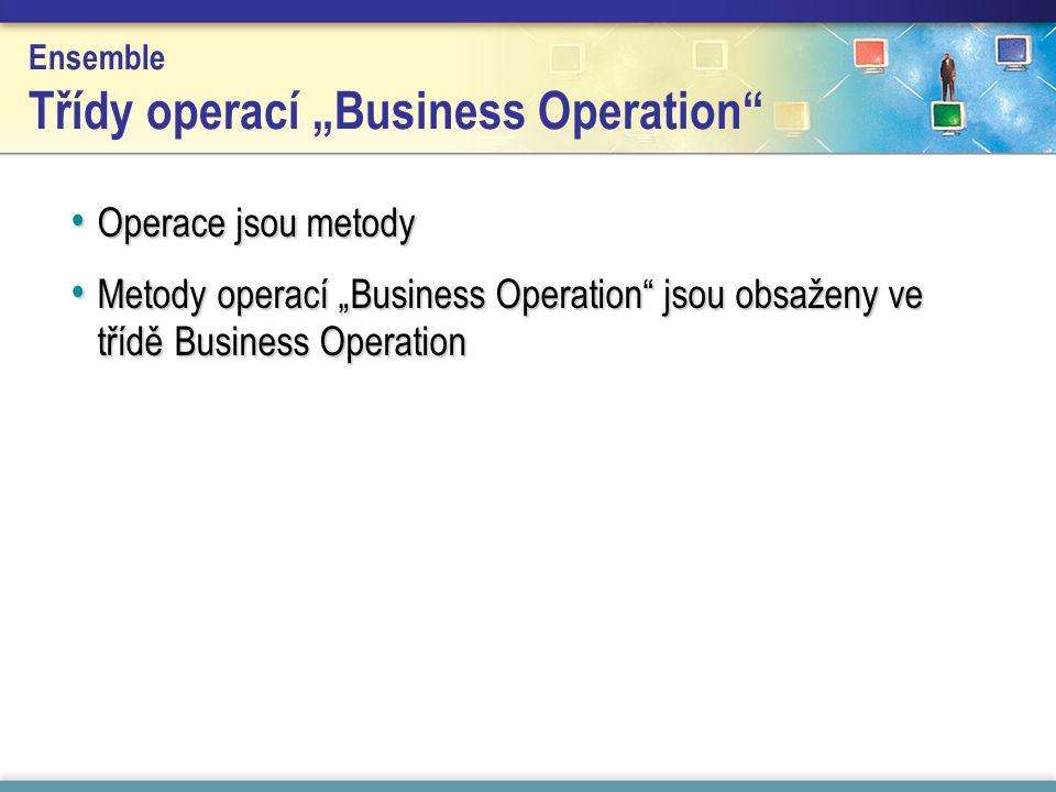 "Ensemble Třídy operací ""Business Operation Operace jsou metody Operace jsou metody Metody operací ""Business Operation jsou obsaženy ve třídě Business Operation Metody operací ""Business Operation jsou obsaženy ve třídě Business Operation"