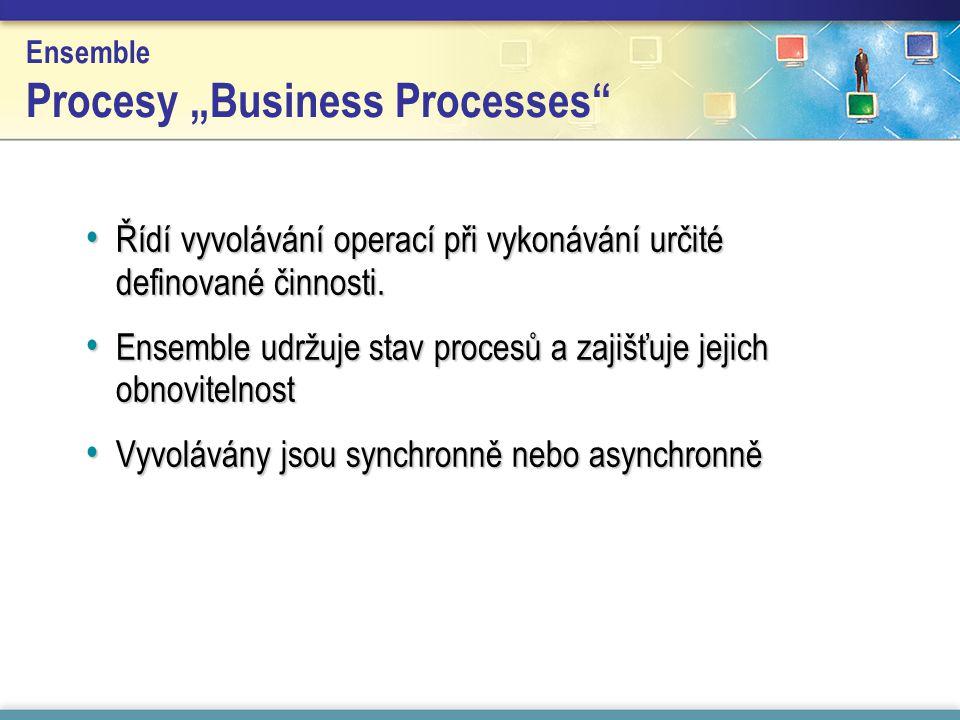 """Ensemble Procesy """"Business Processes Řídí vyvolávání operací při vykonávání určité definované činnosti."""