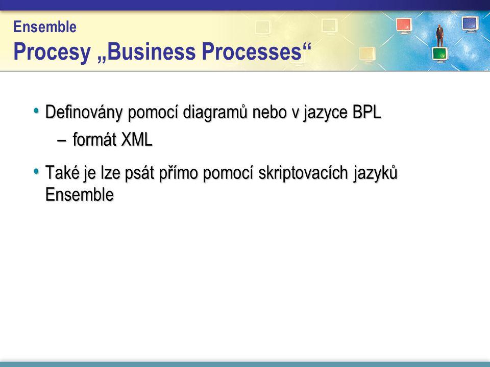 """Ensemble Procesy """"Business Processes Definovány pomocí diagramů nebo v jazyce BPL Definovány pomocí diagramů nebo v jazyce BPL –formát XML Také je lze psát přímo pomocí skriptovacích jazyků Ensemble Také je lze psát přímo pomocí skriptovacích jazyků Ensemble"""
