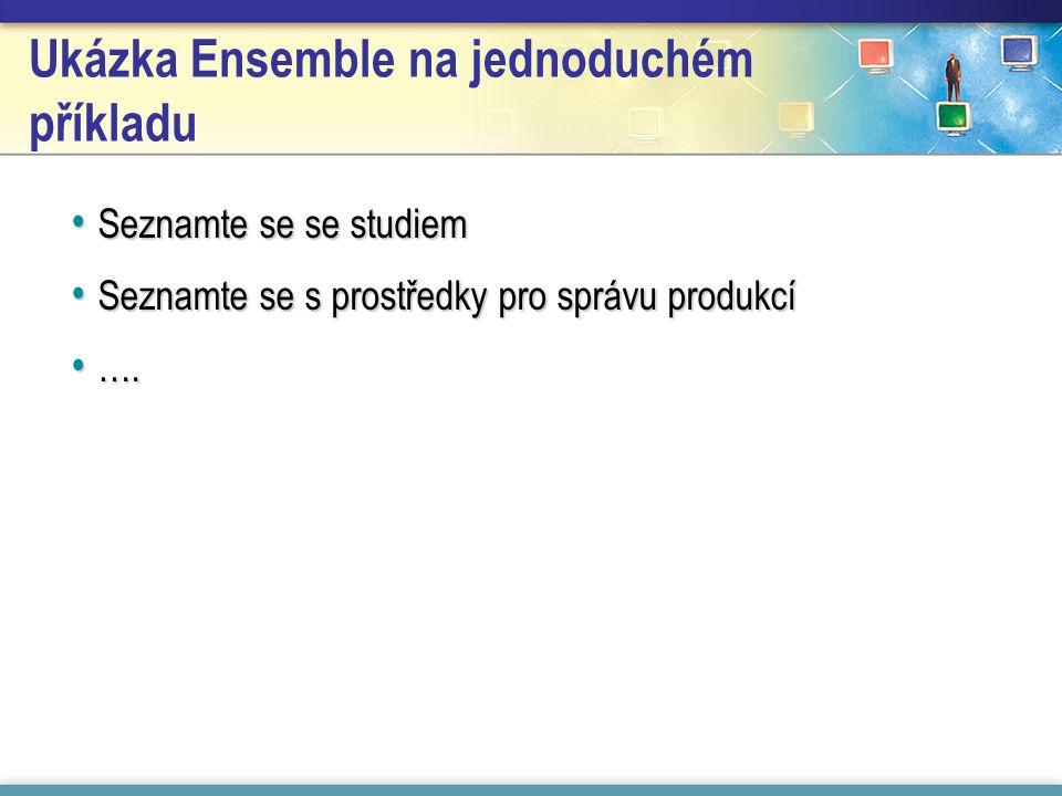 Ukázka Ensemble na jednoduchém příkladu Seznamte se se studiem Seznamte se se studiem Seznamte se s prostředky pro správu produkcí Seznamte se s prostředky pro správu produkcí ….