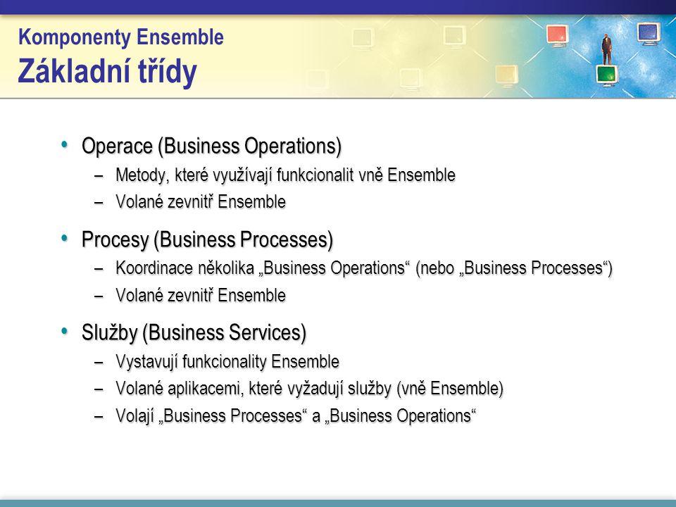 """Komponenty Ensemble Základní třídy Operace (Business Operations) Operace (Business Operations) –Metody, které využívají funkcionalit vně Ensemble –Volané zevnitř Ensemble Procesy (Business Processes) Procesy (Business Processes) –Koordinace několika """"Business Operations (nebo """"Business Processes ) –Volané zevnitř Ensemble Služby (Business Services) Služby (Business Services) –Vystavují funkcionality Ensemble –Volané aplikacemi, které vyžadují služby (vně Ensemble) –Volají """"Business Processes a """"Business Operations"""