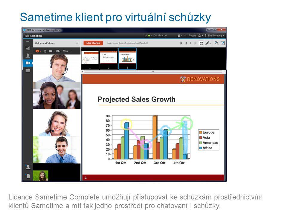 Sametime klient pro virtuální schůzky Licence Sametime Complete umožňují přistupovat ke schůzkám prostřednictvím klientů Sametime a mít tak jedno prostředí pro chatování i schůzky.