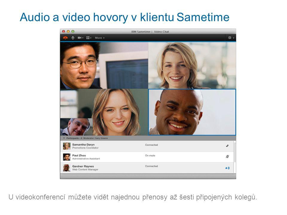Audio a video hovory v klientu Sametime U videokonferencí můžete vidět najednou přenosy až šesti připojených kolegů.