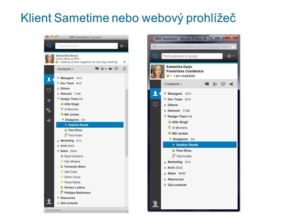 Klient Sametime nebo webový prohlížeč