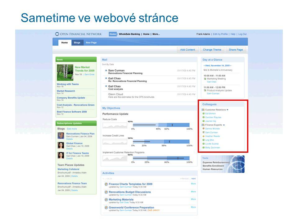 Sametime ve webové stránce