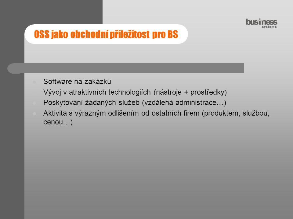 OSS jako obchodní příležitost pro BS Software na zakázku Vývoj v atraktivních technologiích (nástroje + prostředky) Poskytování žádaných služeb (vzdál