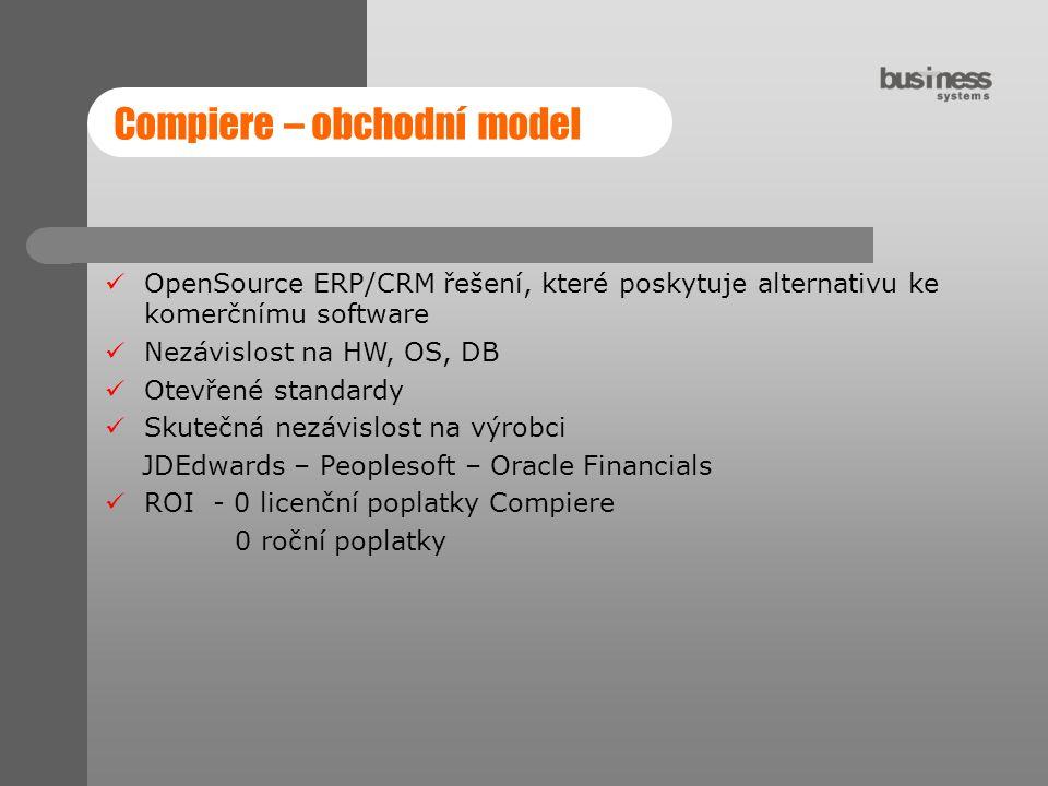 Compiere – obchodní model OpenSource ERP/CRM řešení, které poskytuje alternativu ke komerčnímu software Nezávislost na HW, OS, DB Otevřené standardy S
