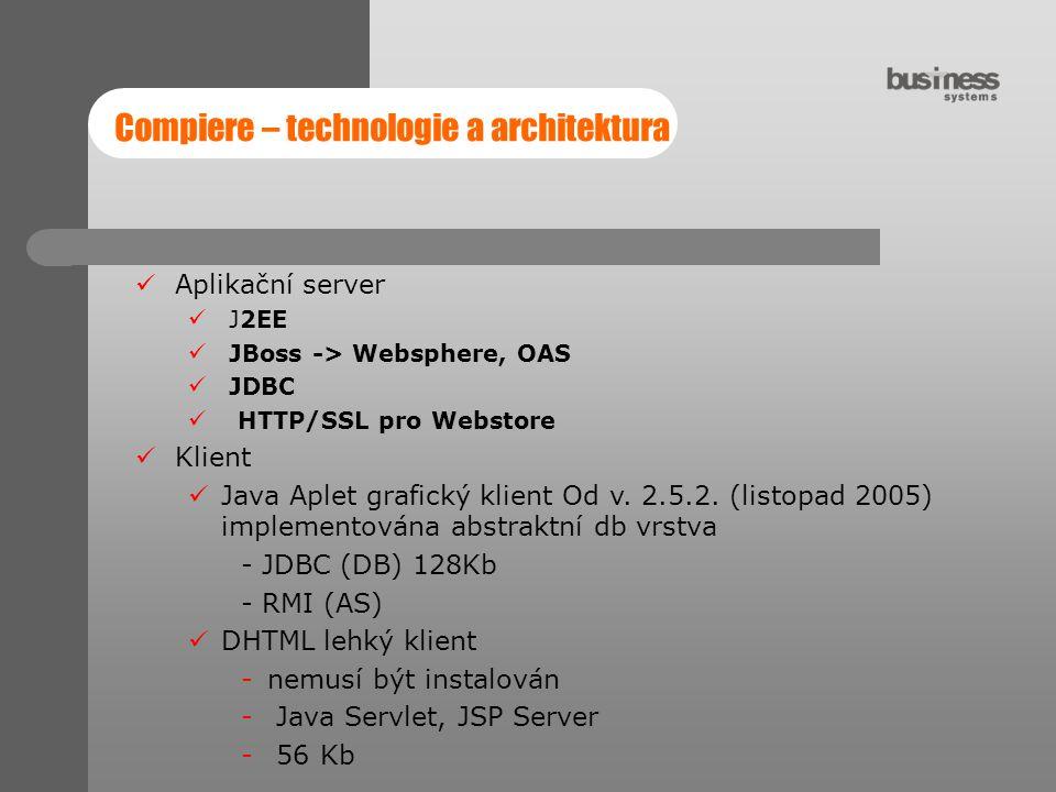 Aplikační server J2EE JBoss -> Websphere, OAS JDBC HTTP/SSL pro Webstore Klient Java Aplet grafický klient Od v. 2.5.2. (listopad 2005) implementována