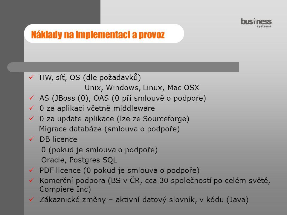 Náklady na implementaci a provoz HW, síť, OS (dle požadavků) Unix, Windows, Linux, Mac OSX AS (JBoss (0), OAS (0 při smlouvě o podpoře) 0 za aplikaci