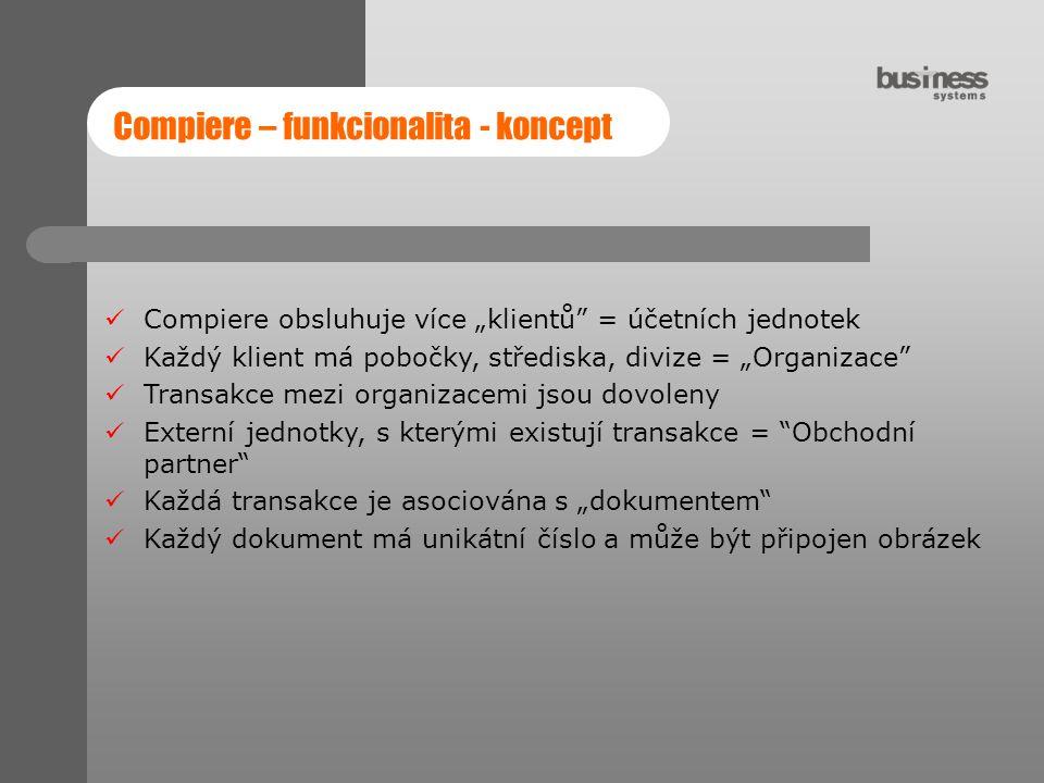"""Compiere – funkcionalita - koncept Compiere obsluhuje více """"klientů"""" = účetních jednotek Každý klient má pobočky, střediska, divize = """"Organizace"""" Tra"""