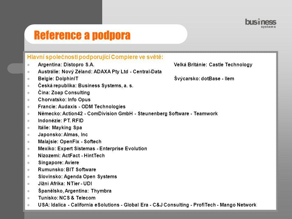 Reference a podpora Hlavní společnosti podporující Compiere ve světě: Argentina: Distopro S.A. Velká Británie: Castle Technology Austrálie: Nový Zélan