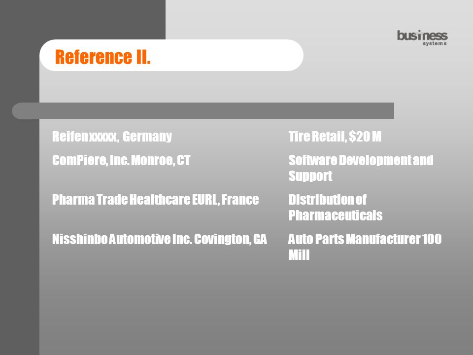 Reference II.Reifen xxxxx, GermanyTire Retail, $20 M ComPiere, Inc.