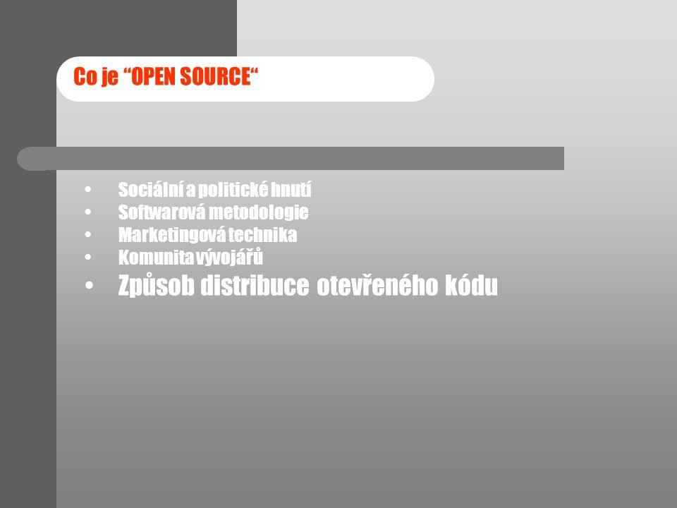 """Co je """"OPEN SOURCE"""" Sociální a politické hnutí Softwarová metodologie Marketingová technika Komunita vývojářů Způsob distribuce otevřeného kódu"""