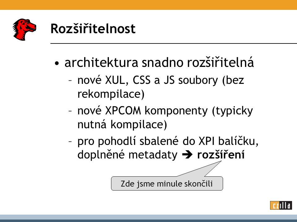 Struktura rozšíření install.rdf chrome.manifest plugins/...
