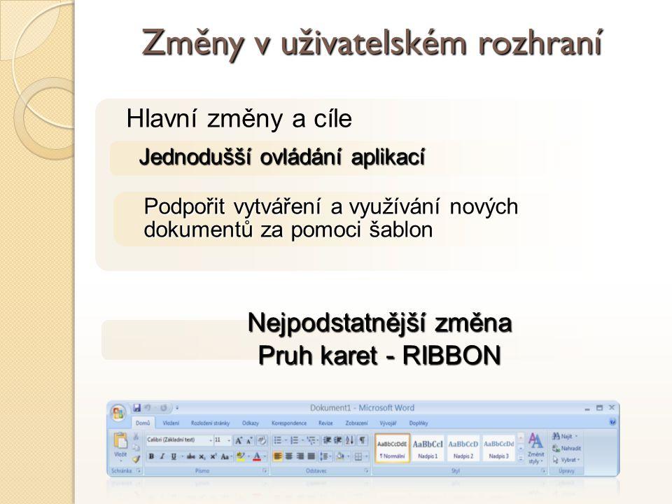 Nejpodstatnější změna Pruh karet - RIBBON Hlavní změny a cíle Jednodušší ovládání aplikací Změny v uživatelském rozhraní Podpořit vytváření a využívání nových dokumentů za pomoci šablon