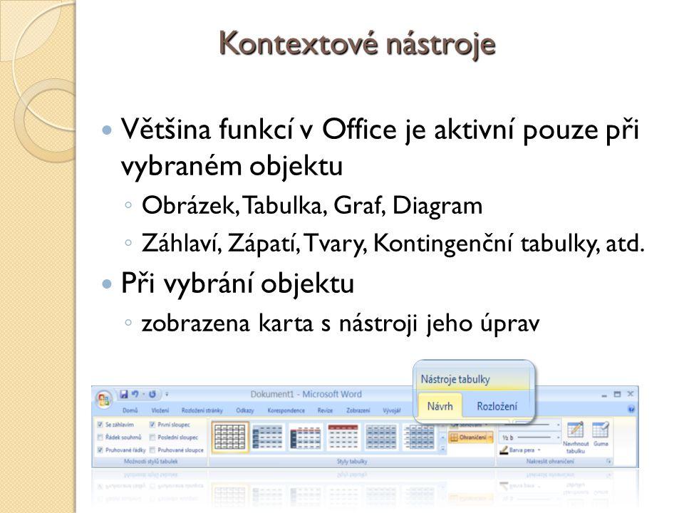 Kontextové nástroje Většina funkcí v Office je aktivní pouze při vybraném objektu ◦ Obrázek, Tabulka, Graf, Diagram ◦ Záhlaví, Zápatí, Tvary, Kontingenční tabulky, atd.