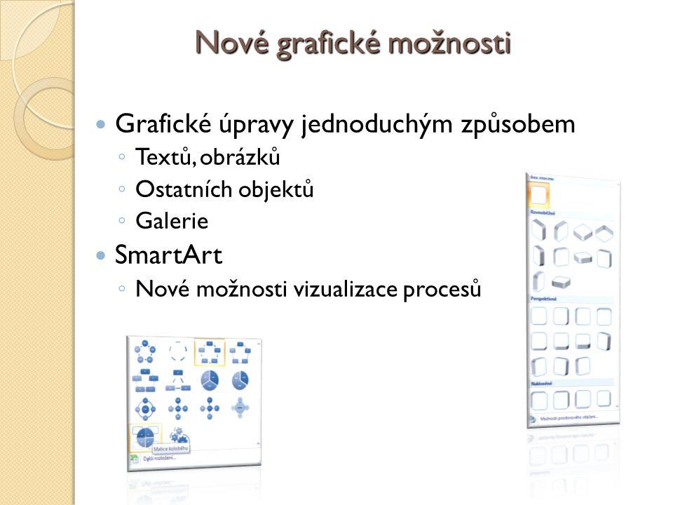 Nové grafické možnosti Grafické úpravy jednoduchým způsobem ◦ Textů, obrázků ◦ Ostatních objektů ◦ Galerie SmartArt ◦ Nové možnosti vizualizace procesů