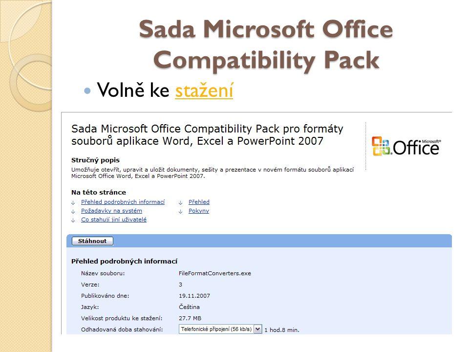 Sada Microsoft Office Compatibility Pack Volně ke staženístažení
