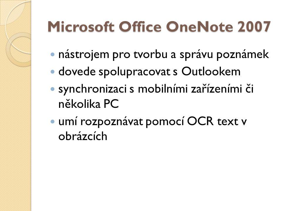 Microsoft Office OneNote 2007 nástrojem pro tvorbu a správu poznámek dovede spolupracovat s Outlookem synchronizaci s mobilními zařízeními či několika PC umí rozpoznávat pomocí OCR text v obrázcích