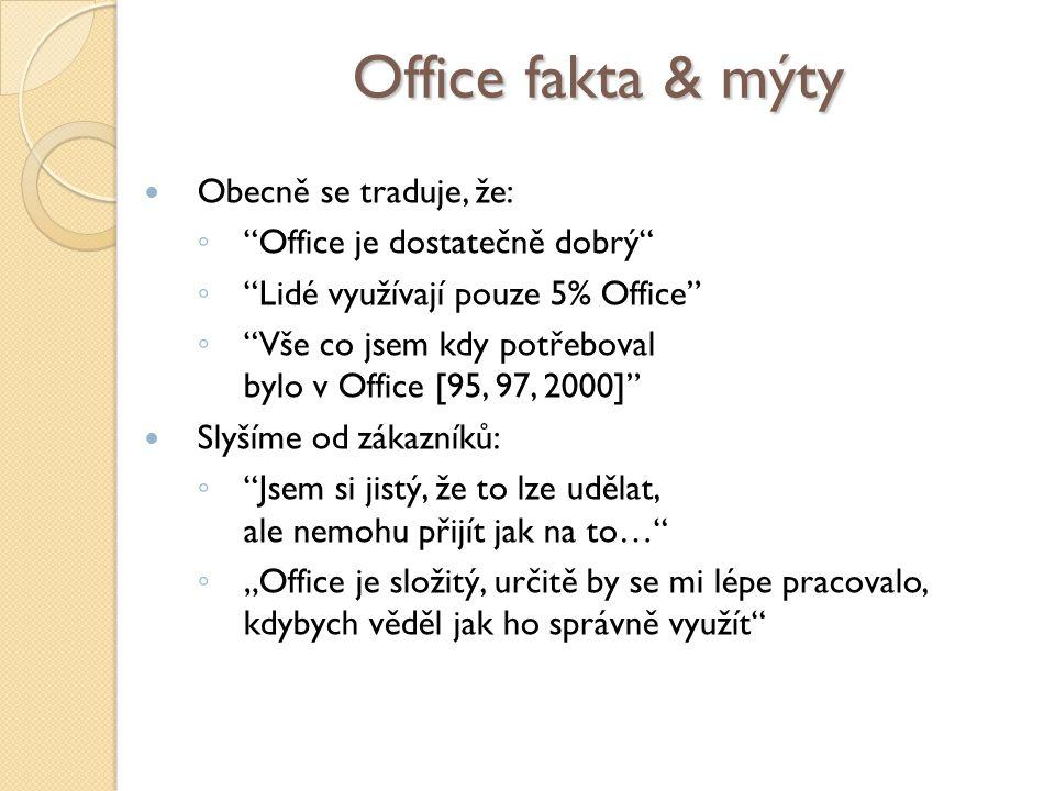"""Office fakta & mýty Obecně se traduje, že: ◦ Office je dostatečně dobrý ◦ Lidé využívají pouze 5% Office ◦ Vše co jsem kdy potřeboval bylo v Office [95, 97, 2000] Slyšíme od zákazníků: ◦ Jsem si jistý, že to lze udělat, ale nemohu přijít jak na to… ◦ """"Office je složitý, určitě by se mi lépe pracovalo, kdybych věděl jak ho správně využít"""