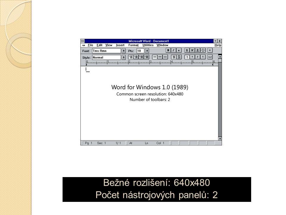 Bežné rozlišení: 640x480 Počet nástrojových panelů: 2