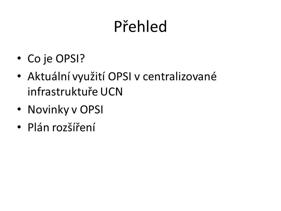 Přehled Co je OPSI? Aktuální využití OPSI v centralizované infrastruktuře UCN Novinky v OPSI Plán rozšíření