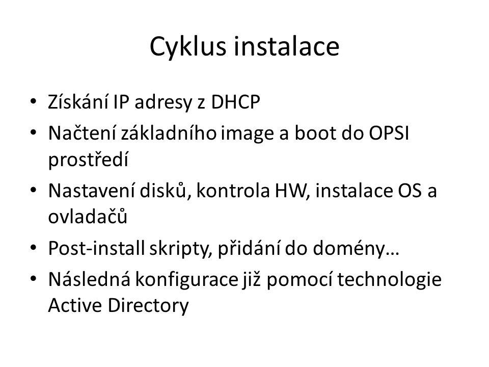 Cyklus instalace Získání IP adresy z DHCP Načtení základního image a boot do OPSI prostředí Nastavení disků, kontrola HW, instalace OS a ovladačů Post-install skripty, přidání do domény… Následná konfigurace již pomocí technologie Active Directory