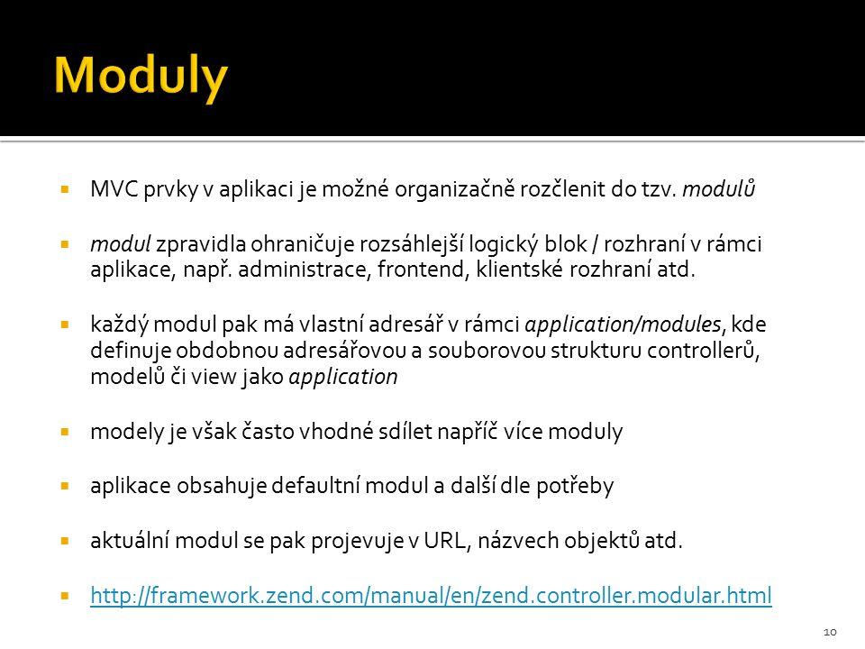  MVC prvky v aplikaci je možné organizačně rozčlenit do tzv.