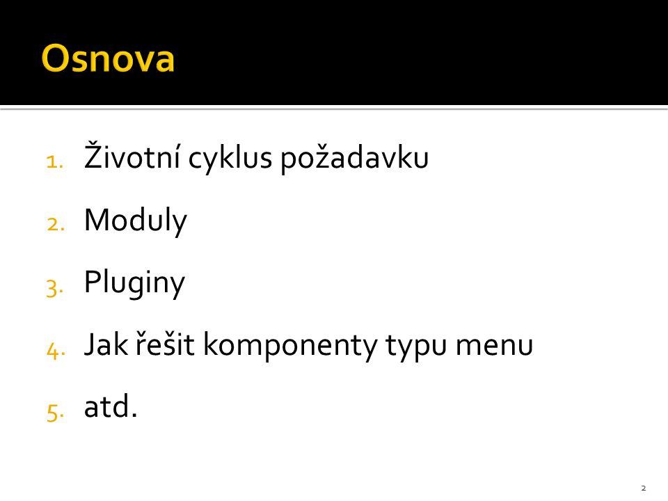 1. Životní cyklus požadavku 2. Moduly 3. Pluginy 4. Jak řešit komponenty typu menu 5. atd. 2