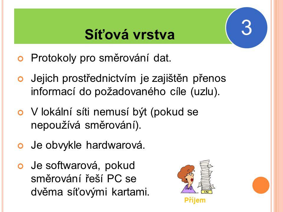 Síťová vrstva Protokoly pro směrování dat.