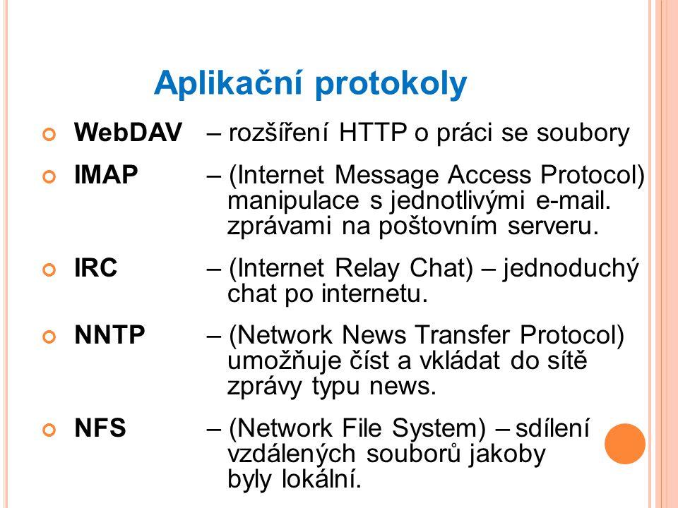Aplikační protokoly WebDAV – rozšíření HTTP o práci se soubory IMAP – (Internet Message Access Protocol) manipulace s jednotlivými e-mail.