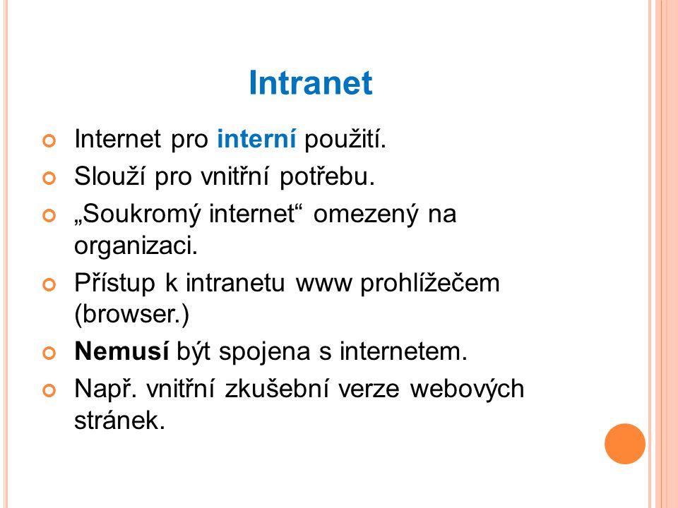 Intranet Internet pro interní použití.Slouží pro vnitřní potřebu.