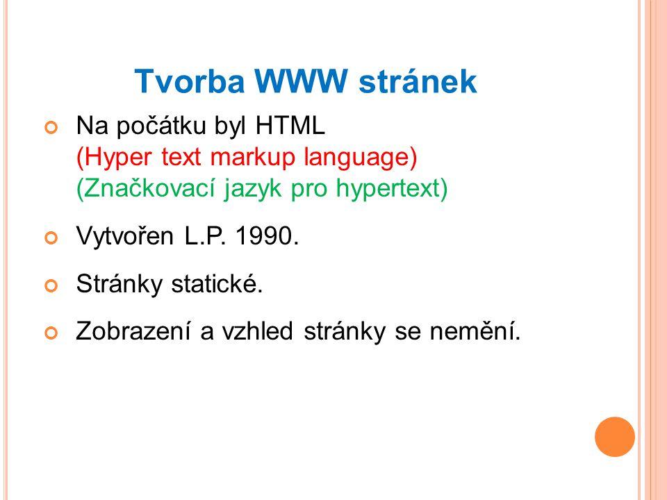 Tvorba WWW stránek Na počátku byl HTML (Hyper text markup language) (Značkovací jazyk pro hypertext) Vytvořen L.P.