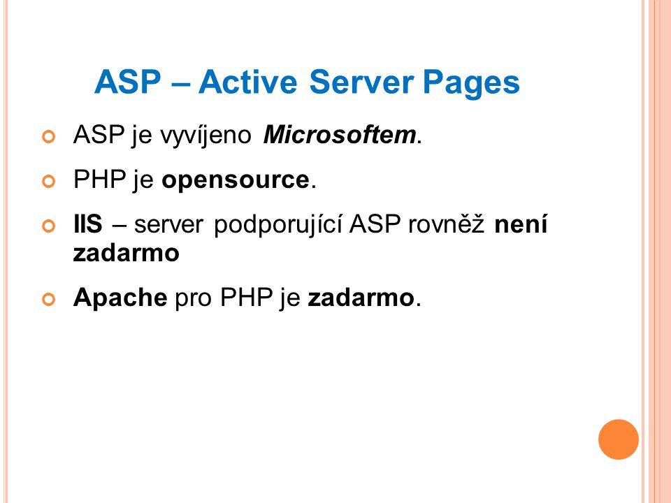 ASP – Active Server Pages ASP je vyvíjeno Microsoftem.