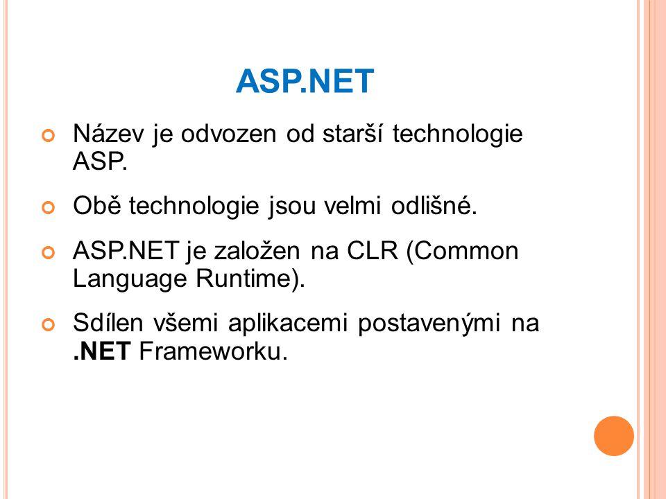 ASP.NET Název je odvozen od starší technologie ASP.