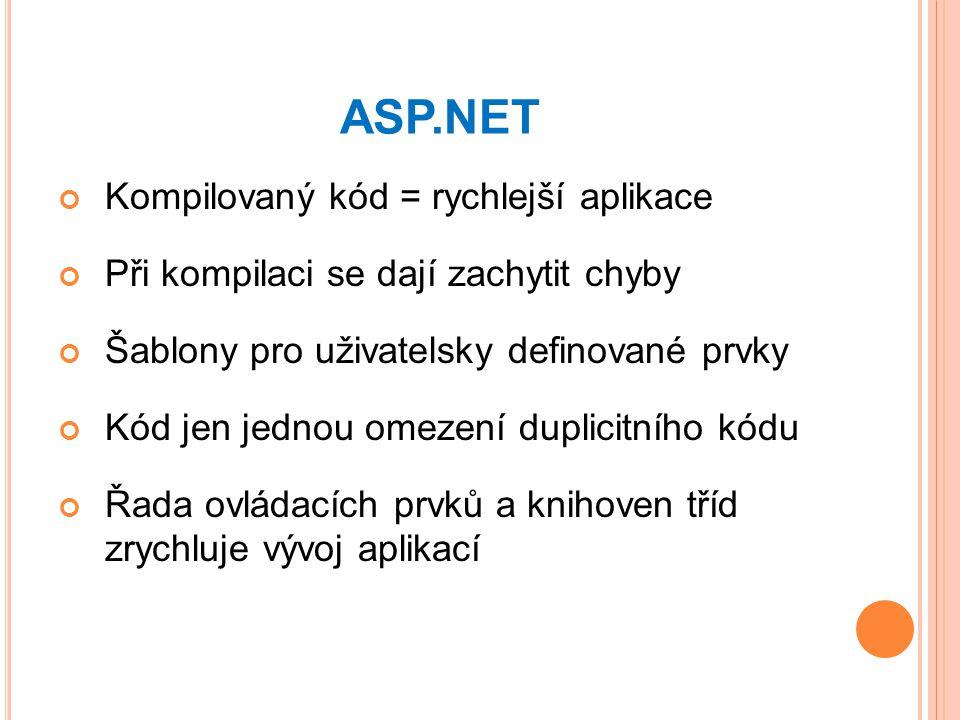 ASP.NET Kompilovaný kód = rychlejší aplikace Při kompilaci se dají zachytit chyby Šablony pro uživatelsky definované prvky Kód jen jednou omezení duplicitního kódu Řada ovládacích prvků a knihoven tříd zrychluje vývoj aplikací