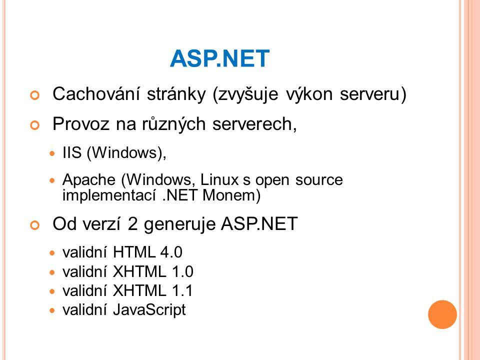ASP.NET Cachování stránky (zvyšuje výkon serveru) Provoz na různých serverech, IIS (Windows), Apache (Windows, Linux s open source implementací.NET Monem) Od verzí 2 generuje ASP.NET validní HTML 4.0 validní XHTML 1.0 validní XHTML 1.1 validní JavaScript