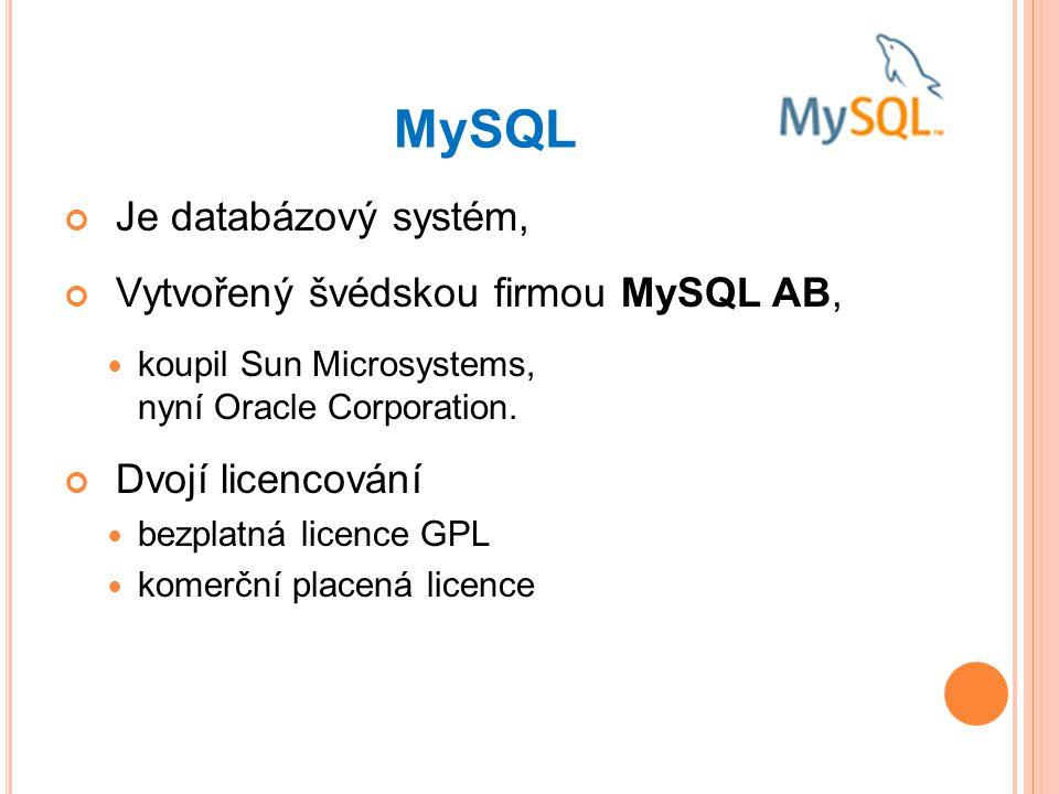 MySQL Je databázový systém, Vytvořený švédskou firmou MySQL AB, koupil Sun Microsystems, nyní Oracle Corporation.