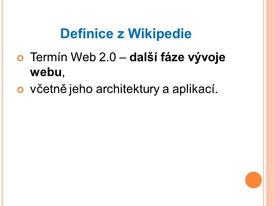 Definice z Wikipedie Termín Web 2.0 – další fáze vývoje webu, včetně jeho architektury a aplikací.