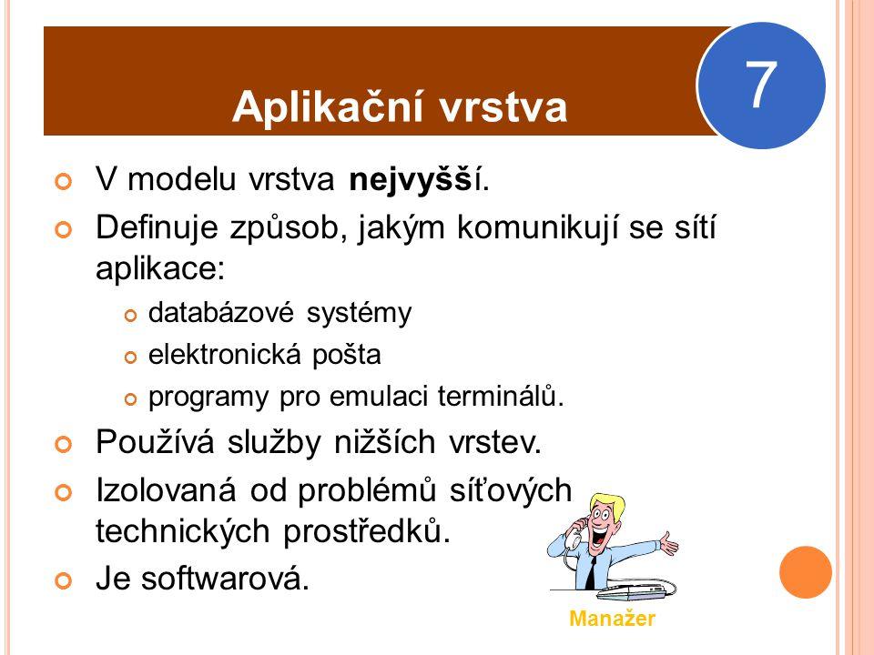 Aplikační protokoly NLTM – Autentizační protokol Windows NTP – synchronizace času (šíření přesného času) POP3 – (Post Office Protocol) – protokol pro získání pošty z poštovního serveru.