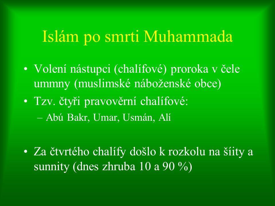 Islám po smrti Muhammada Volení nástupci (chalífové) proroka v čele ummny (muslimské náboženské obce) Tzv. čtyři pravověrní chalífové: –Abú Bakr, Umar