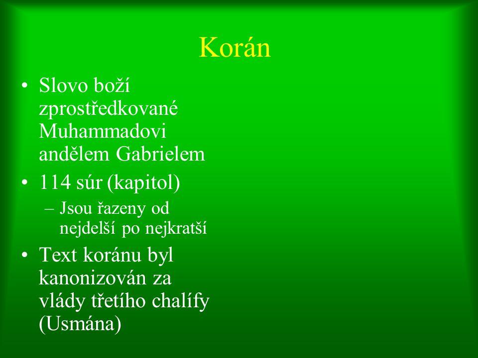 """5 sloupů víry 1.Šaháda (vyznání) """"Není boha kromě Alláha; Muhammad je Alláhův posel. [Lá illáhu ilá `lláh, Muhammadu `r-rasúlu `lláh ] 2.Salát (modlitba) pěti každodenním modliteb 3.Zakát (almužna, náboženská daň) 4.Saum (půst během ramadánu) 5.Hadždž (pouť) Muslim, jemuž to zdravotní stav a hospodářská situace dovolují, je povinen se aspoň jednou za život zúčastnit poutě do Mekky."""