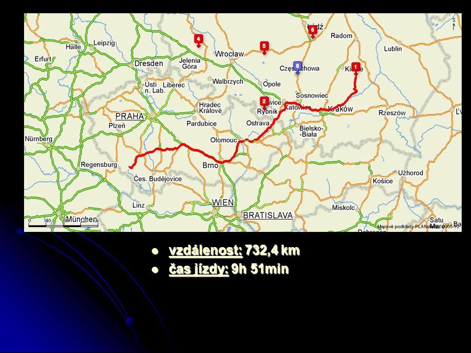 vzdálenost: 732,4 km vzdálenost: 732,4 km čas jízdy: 9h 51min čas jízdy: 9h 51min
